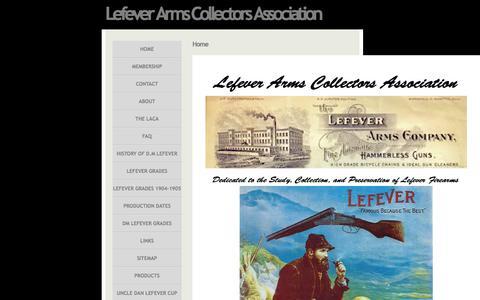Screenshot of Home Page lefevercollectors.com - Lefever Arms Collectors Association - Guns of Lasting Fame - captured June 10, 2016