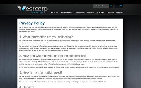 Screenshot of Privacy Page westcorpsolutions.com - Privacy Policy | WestCorp Solutions - captured Oct. 7, 2014