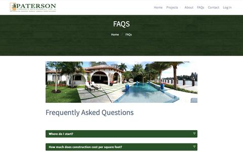 Screenshot of FAQ Page patersondevelopment.com - Frequently Asked Questions - Paterson Project Management - captured Sept. 29, 2016