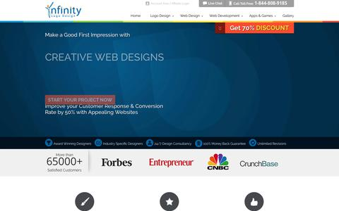 Screenshot of Home Page infinitylogodesign.com - Custom Logo Designs by Professional Logo Design Company - captured July 7, 2019