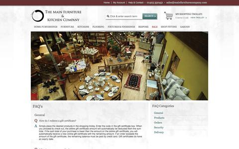 Screenshot of FAQ Page mainfurniturecompany.com - Main Furniture Company - captured Oct. 9, 2014