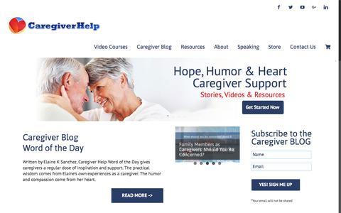 Screenshot of Home Page caregiverhelp.com - Caregiver Help - Caregiver Support - captured July 16, 2018