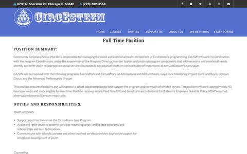Screenshot of Jobs Page circesteem.org - We're Hiring - CircEsteem - captured Sept. 24, 2018