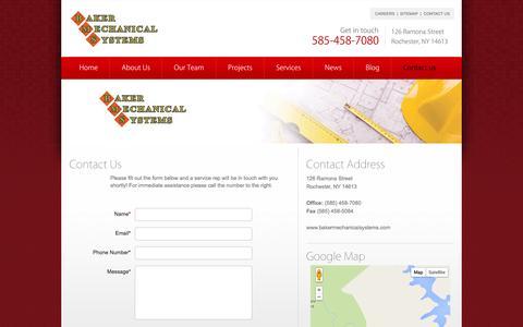 Screenshot of Contact Page bakermechanicalsystems.com - Contact Us - captured Oct. 5, 2014