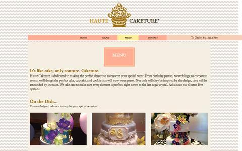 Screenshot of Menu Page hautecaketure.com - Haute Caketure | Custom Cakes and Cupcakes | Houston, Texas - captured May 15, 2017