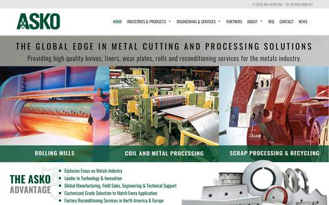 Screenshot of Home Page askoinc.com - ASKO, Inc. – The global edge in metal cutting and processing solutions - captured Dec. 17, 2018