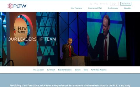 Screenshot of Team Page pltw.org - Leadership | PLTW - captured March 7, 2017