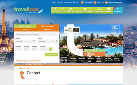 Screenshot of Contact Page traveltodo.com - Contact | Traveltodo - captured Sept. 22, 2018