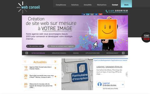 Screenshot of Home Page agence-web-conseil.com - AGENCE WEB CONSEIL - La Web Agency pour votre site internet sur mesure - captured Jan. 21, 2015