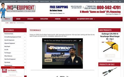 Testimonials for JMC Automotive Equipment