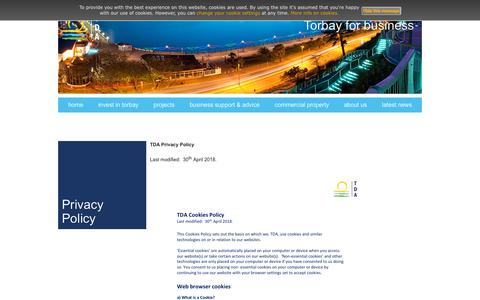 Screenshot of Privacy Page torbaydevelopmentagency.co.uk - Privacy & Cookies | Torbay Development Agency - captured Sept. 21, 2018