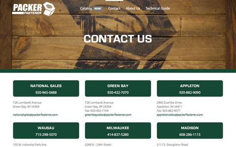 Screenshot of Contact Page packerfastener.com - Contact Us | Packer Fastener - captured May 6, 2018