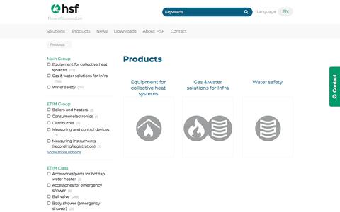 Screenshot of Products Page hsfbv.nl - Products | HSF B.V. - captured July 15, 2018