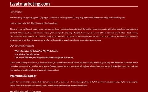 Screenshot of Privacy Page izzatmarketing.com - Contact. Page on Contactizzatmarketing.com - captured Dec. 10, 2018