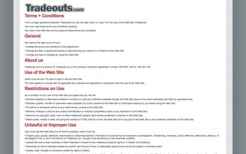 Screenshot of Terms Page tradeouts.com - Tradeouts - The trade-only dealer network - captured Oct. 6, 2014