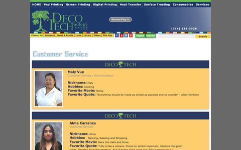 Screenshot of Support Page decotechgroup.com - Customer Service Staff Serving Your Decorating Needs at DECO TECH - captured June 1, 2018