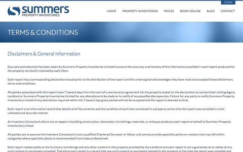 Screenshot of Terms Page summersproperty.com - Summers Property Inventories - Terms & Conditions - captured Oct. 6, 2014