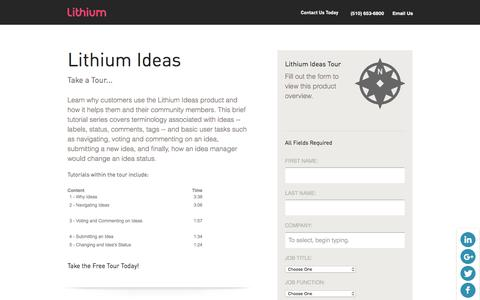 Screenshot of Landing Page lithium.com - Lithium - Resources - Product Tours - Demo Lithium Ideas and Crowdsourcing Online Social CRM Software Solutions - captured Dec. 23, 2015