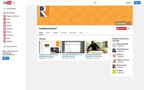 Screenshot of YouTube Page youtube.com - rowleycompany1  - YouTube - captured Oct. 22, 2014