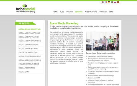 Screenshot of Services Page tobesocial.net - Social Media Marketing, Social Media Agency London, Facebook Marketing Agency, UK - captured May 26, 2016