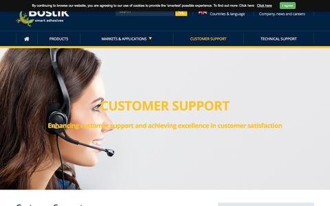 Screenshot of Support Page bostik.com - Bostik   Customer Support   Customer Service - captured Nov. 19, 2017