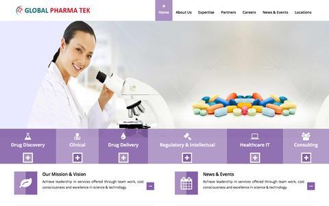 Screenshot of Home Page globalpharmatek.com - Global Pharma Tek - captured Sept. 19, 2015