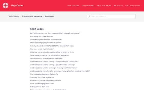 Screenshot of Support Page twilio.com - Short Codes – Twilio Support - captured June 13, 2019