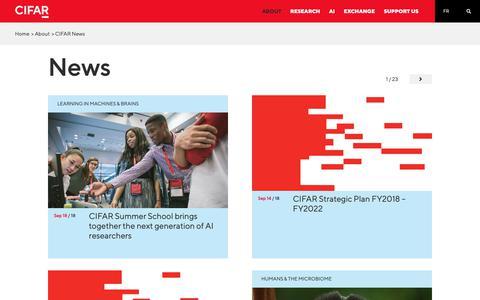 Screenshot of Press Page cifar.ca - CIFAR News - captured Sept. 26, 2018