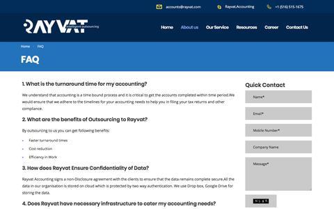 Screenshot of FAQ Page rayvataccounting.com - FAQ - Rayvat Accounting - captured Oct. 1, 2017