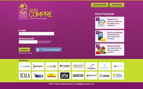 Screenshot of Login Page agoracompre.com.br - Filtro de ofertas! Apenas promoções do seu interesse | Agora Compre - captured Sept. 30, 2014