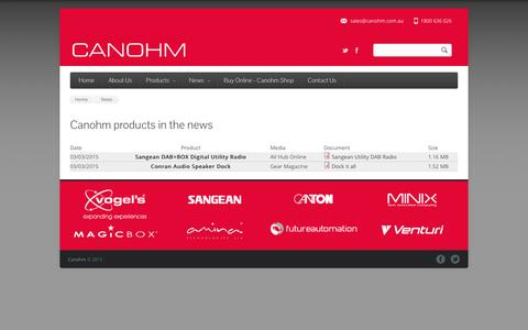Screenshot of Press Page canohm.com.au - Canohm products in the news   Canohm - captured July 11, 2016