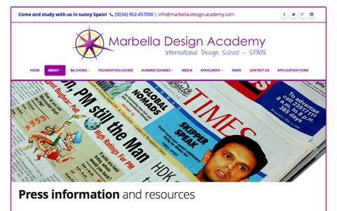 Screenshot of Press Page designschool.com - PRESS | Marbella Design Academy - captured Oct. 27, 2014