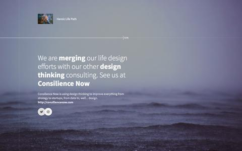Screenshot of Home Page heroiclifepath.com - Finding Your Purpose and Live a Designer Life - Heroic Life Path - captured Jan. 29, 2016