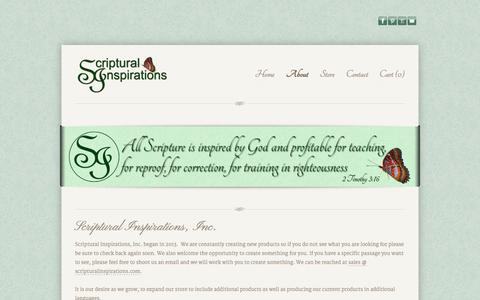 Screenshot of About Page scripturalinspirations.com - About Us - captured Sept. 30, 2014