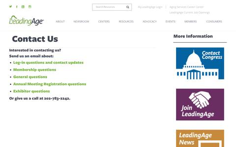 Screenshot of Contact Page leadingage.org - Contact Us | LeadingAge - captured Dec. 7, 2018