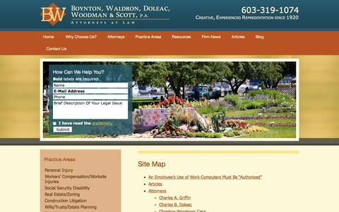Screenshot of Site Map Page boyntonwaldron.com - Site Map | Boynton, Waldron, Doleac, Woodman & Scott, P.A. | Portsmouth, New Hampshire - captured Feb. 8, 2016