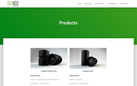 Screenshot of Products Page ecokeg.com - Products – EcoKeg - captured Sept. 27, 2018