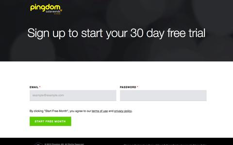 Screenshot of Signup Page pingdom.com - Pingdom - Signup secure - captured July 21, 2015