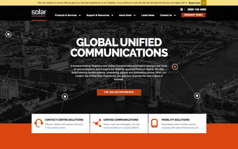 Screenshot of Home Page solar.co.uk - Solar Communications - Unified Communications Solutions - captured Oct. 9, 2014