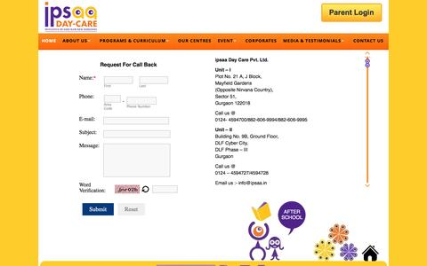 Screenshot of Contact Page ipsaa.in - Contact to Best Day Care Center in Gurgaon, After School in Gurgaon, Day Care Facility in Gurgaon - captured Jan. 21, 2016