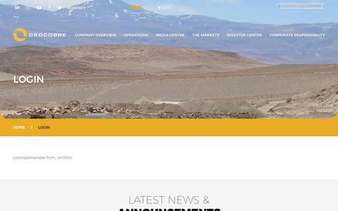 Screenshot of Login Page orocobre.com - Login - Orocobre Limited - captured Oct. 2, 2018
