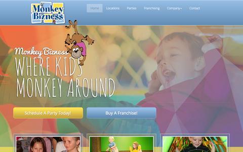 Screenshot of Home Page monkeybizness.com - Children's Activities Centennial | Play Centers CO | Kid's Play Center 80112 - Monkey Bizness - captured Nov. 12, 2015