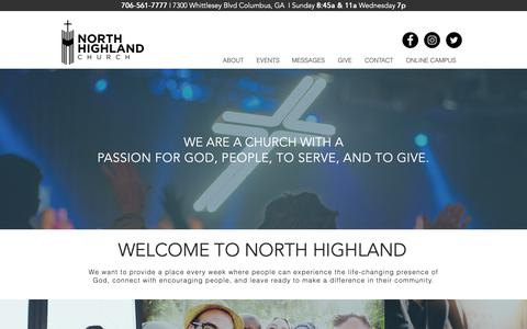 Screenshot of Home Page north-highland.org - North Highland Church - captured Oct. 18, 2018