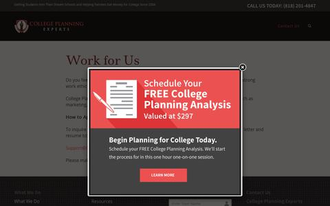 Screenshot of Jobs Page collegeplanningexperts.com - Careers | College Planning Experts - captured July 20, 2018