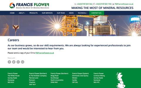 Screenshot of Jobs Page francisflower.co.uk - Careers - Francis Flower - captured Nov. 25, 2016