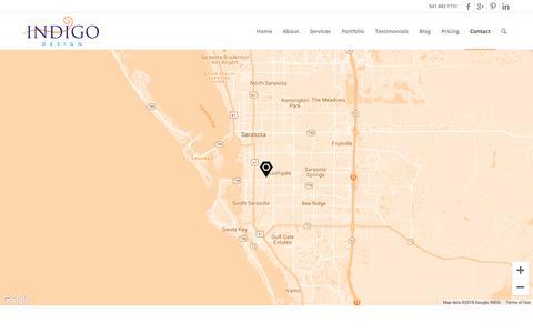 Screenshot of Contact Page designbyindigo.com - Contact | Indigo Design - captured Dec. 12, 2018