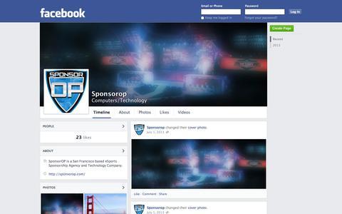 Screenshot of Facebook Page facebook.com - Sponsorop | Facebook - captured Oct. 26, 2014