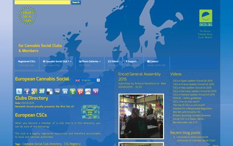 Screenshot of Home Page cannabis-social-clubs.eu - Cannabis Social Clubs   for Cannabis Social Clubs & Members - captured Oct. 12, 2015