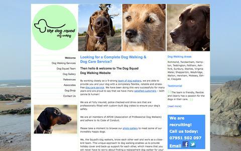 Screenshot of Home Page thedogsquad.co.uk - The Dog Squad - Dog Walking Services Richmond, Twickenham, Hampton, Teddington, Sunbury, Staines, Shepperton, Walton, Esher - captured Sept. 30, 2014