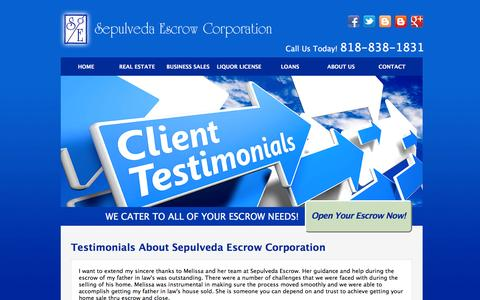 Screenshot of Testimonials Page sepulvedaescrow.net - Client Testimonials | Sepulveda Escrow Corporation | 818-838-1831 - captured Feb. 13, 2016